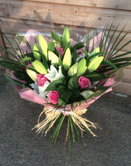 Hand tied Bouquet of Lilies and Roses -