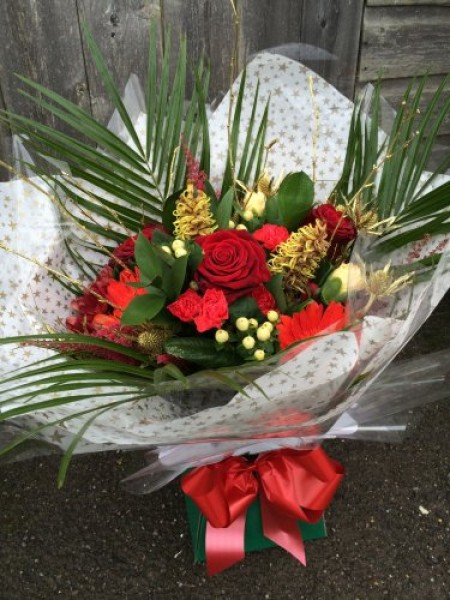 Red Aqua Hand tied with Roses -