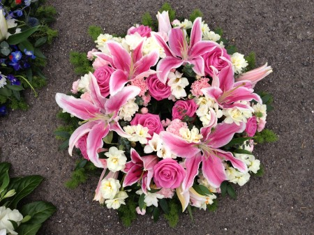 Pink Oriental Lily & Rose Wreath Ring -