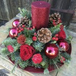 Red table centre chichester florist
