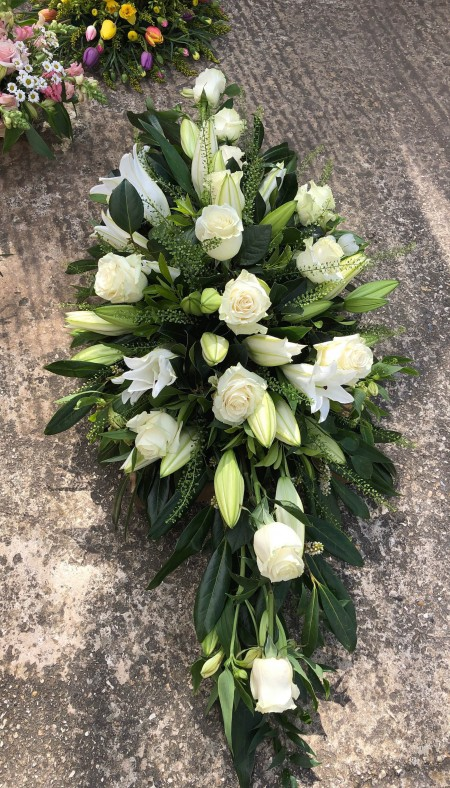 Rose and Lily Coffin Spray -