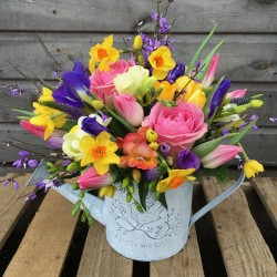 Watering Can with Spring Flowers