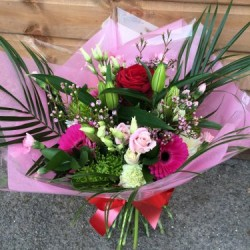 Red and Pink Hand tied Bouquet