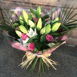 Hand tied Bouquet of Lilies and Roses